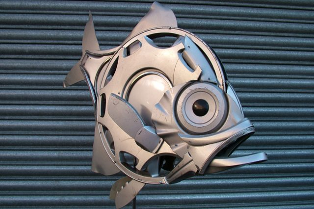 recycled sculpture scrap art green eco recycledart junk rubbish hubcap fish fishes angling deepseafishing deep sea alfonsino