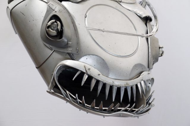 recycled sculpture scrap art green eco recycledart junk rubbish hubcap fish fishes angling deepseafishing deep sea anglerfish