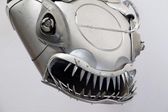recycled sculpture scrap art green eco recycledart junk rubbish hubcap fish fishes angling deepseafishing deep sea anglerfish