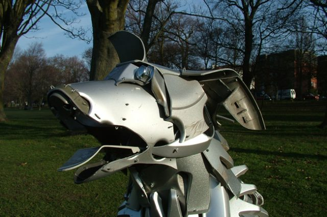 recycled sculpture scrap art green eco recycledart junk rubbish hubcap dog dogs mabel blue peter bluepeter