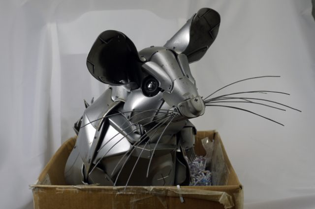 recycled sculpture scrap art green eco recycledart junk rubbish hubcap chinchilla