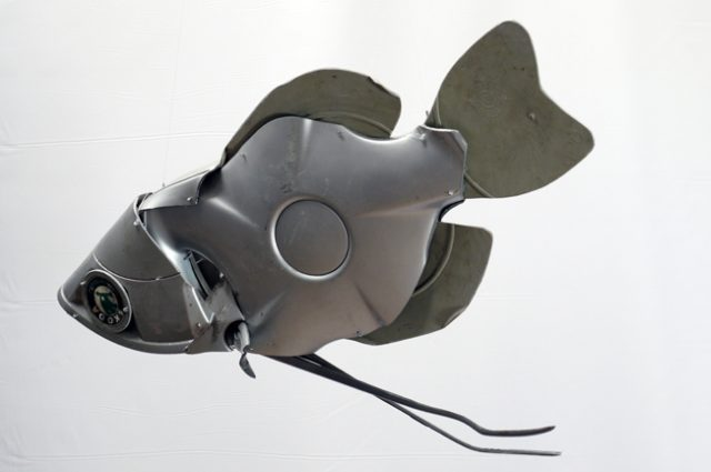 recycled sculpture scrap art green eco recycledart junk rubbish hubcap fish fishes angling deepseafishing deep sea chocolate gourami