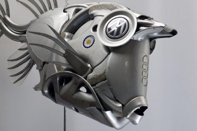 recycled sculpture scrap art green eco recycledart junk rubbish hubcap fish fishes angling deepseafishing deep sea cowfish
