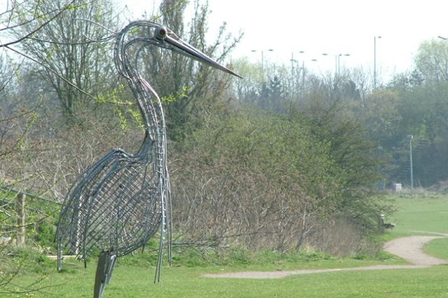 recycled sculpture scrap art green eco recycledart junk rubbish heron