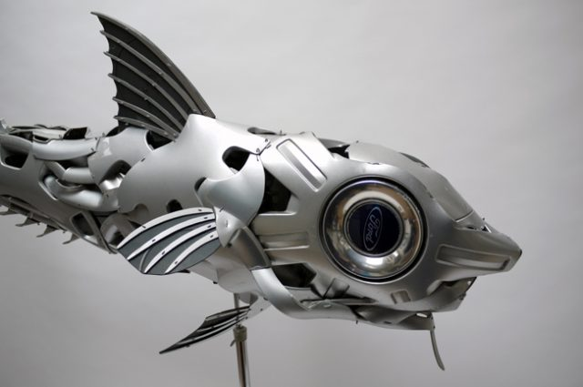 recycled sculpture scrap art green eco recycledart junk rubbish hubcap fish fishes angling deepseafishing deep sea grenadier rattail