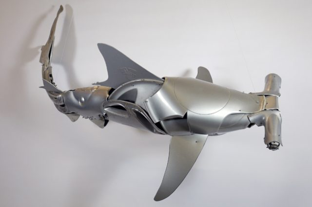 recycled sculpture scrap art green eco recycledart junk rubbish hubcap fish fishes angling deepseafishing deep sea shark hammerhead