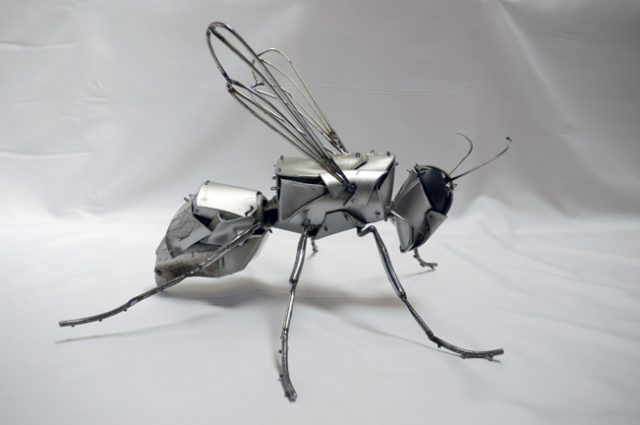 recycled sculpture scrap art green eco recycledart junk rubbish hubcap animal insect cyber bug fly bee hornet