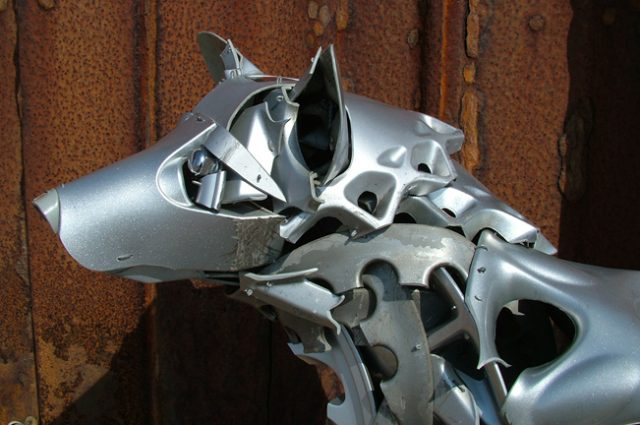 recycled sculpture scrap art green eco recycledart junk rubbish hubcap dog husky pup puppy puppies