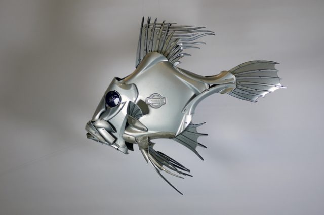 recycled sculpture scrap art green eco recycledart junk rubbish hubcap fish fishes angling deepseafishing deep sea john dory