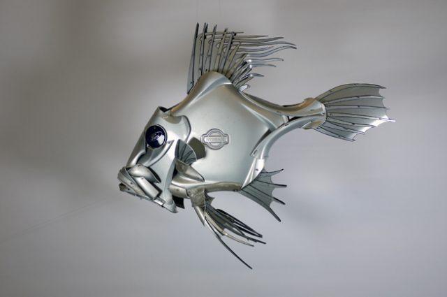 recycled sculpture scrap art green eco recycledart junk rubbish hubcap fish fishes angling deepseafishing deep sea john dory