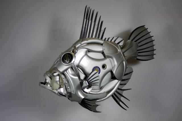 Fish john dory johndory fishing recycled sculpture scrap art green eco recycledart junk rubbish hubcap
