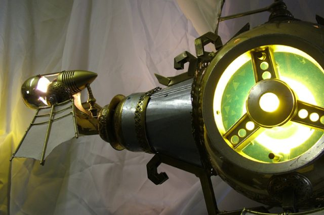 recycled sculpture scrap art green eco recycledart junk rubbish galleon steam punk steampunk ship sci-fi