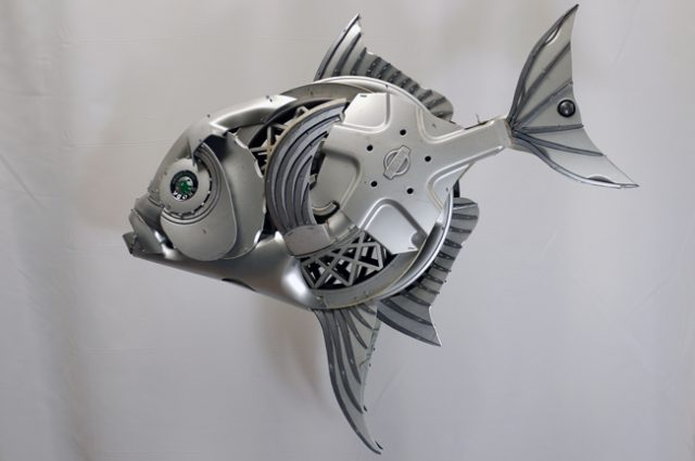 recycled sculpture scrap art green eco recycledart junk rubbish hubcap fish fishes angling deepseafishing deep sea opah