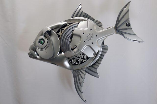 recycled sculpture scrap art green eco recycledart junk rubbish hubcap fish fishes angling deepseafishing deep sea opah