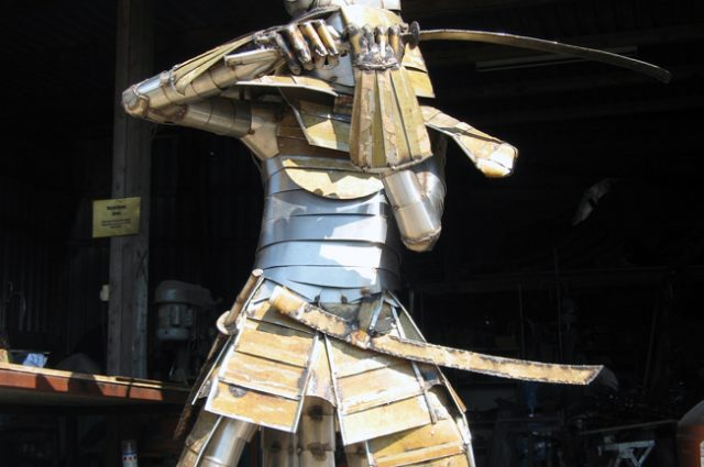 recycled sculpture scrap art green eco recycledart junk rubbish samurai warrior japan