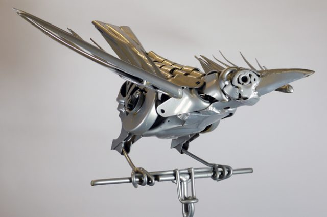 recycled sculpture scrap art green eco recycledart junk rubbish scrap bird