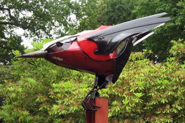 owl owls bird birds birdwatching recycled sculpture scrap art green eco recycledart junk rubbish hubcap