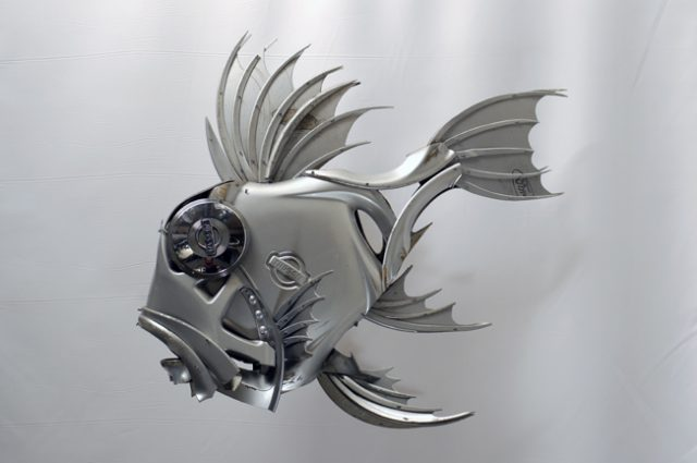 recycled sculpture scrap art green eco recycledart junk rubbish hubcap fish fishes angling deepseafishing deep sea john dory johndory