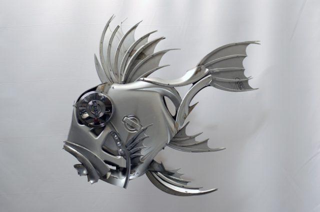recycled sculpture scrap art green eco recycledart junk rubbish hubcap fish fishes angling deepseafishing deep sea john dory johndory