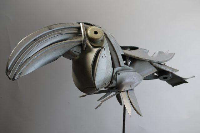 owl owls bird birds birdwatching recycled sculpture scrap art green eco recycledart junk rubbish hubcap toucan
