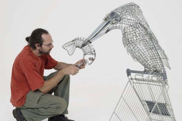 recycled sculpture scrap art green eco recycledart junk rubbish trolley anglianwater kingfisher